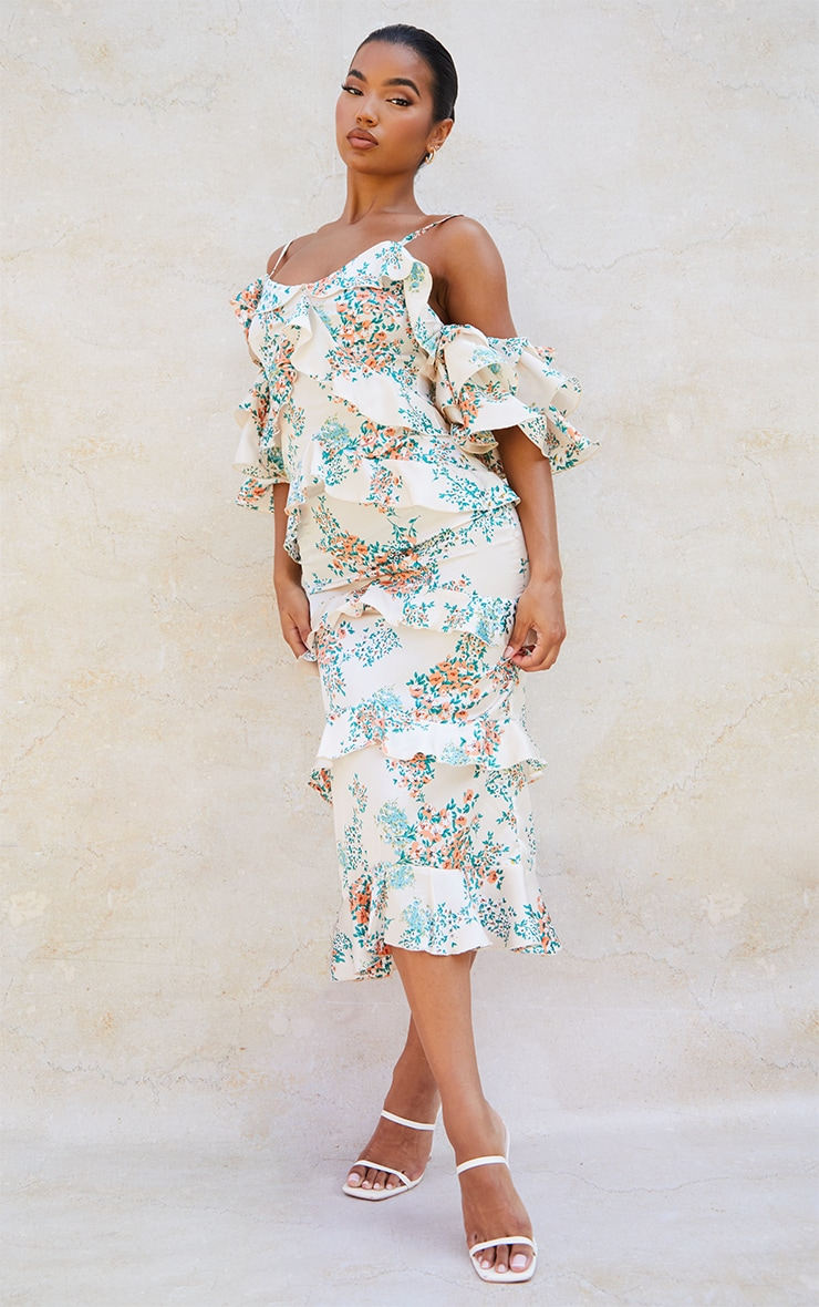 Nude Floral Print Tiered Frill Strappy Bardot Midi Dress 1