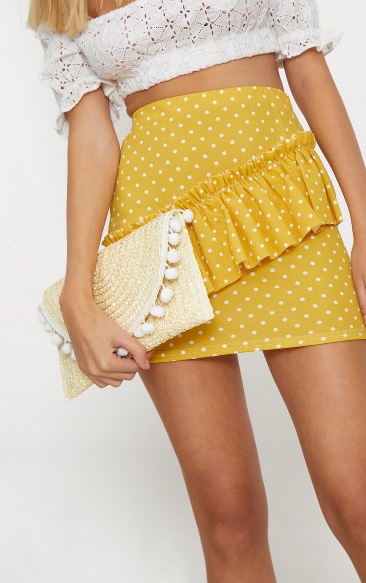 Cream Straw Pom Pom Clutch Bag 3