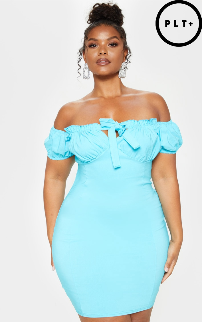 Plus Aqua Bardot Cup Detail Bodycon Dress