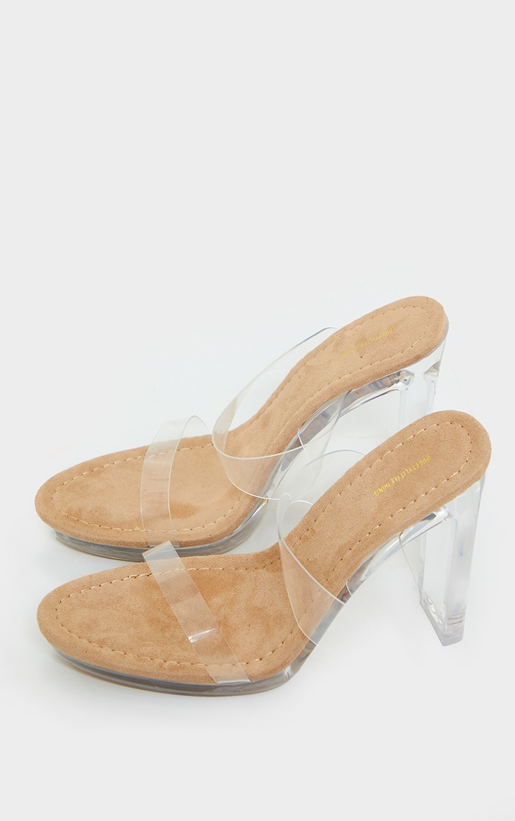 Sand Mule Clear Flat High Heel 3