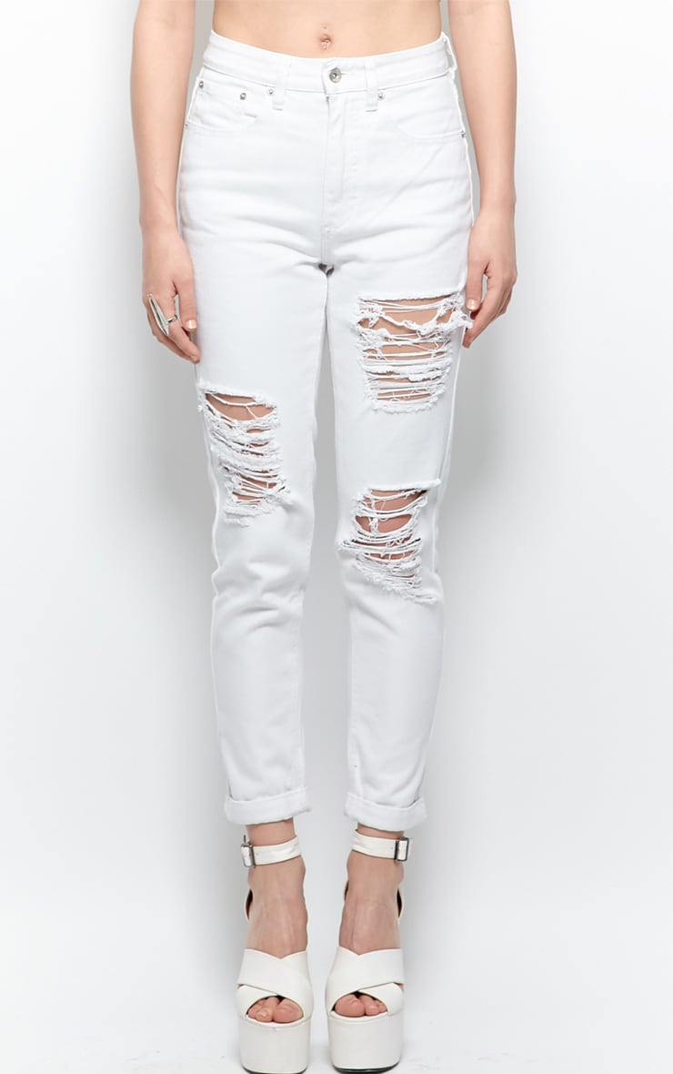 Trudy White Ripped Mom Jeans 4