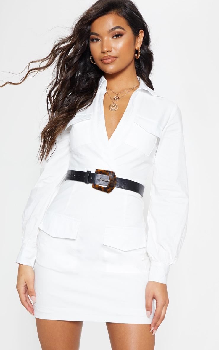 White Utility Pocket Detail Bodycon Dress