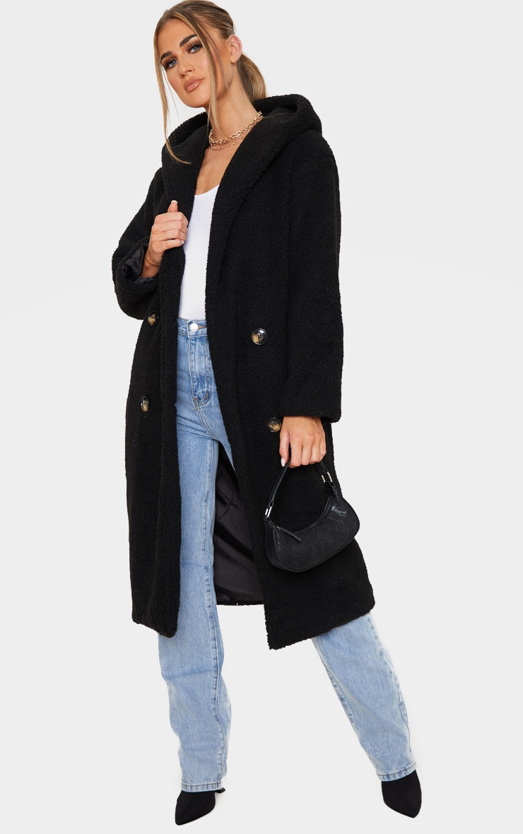 Black Borg Hooded Midi Coat 1