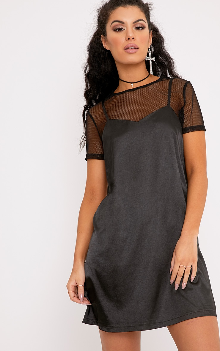 Miah Black Satin 2in1 Cami Dress 1