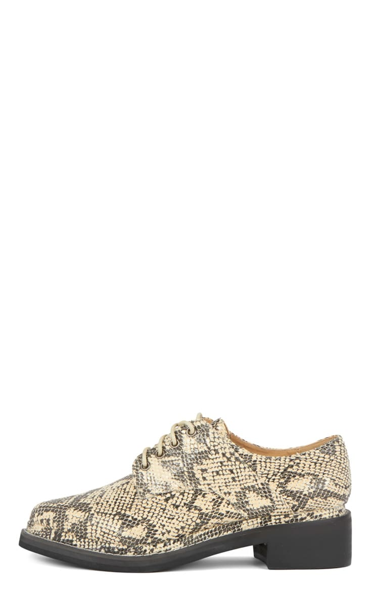 Raziya Snakeskin Patent Pointed Brogue  1