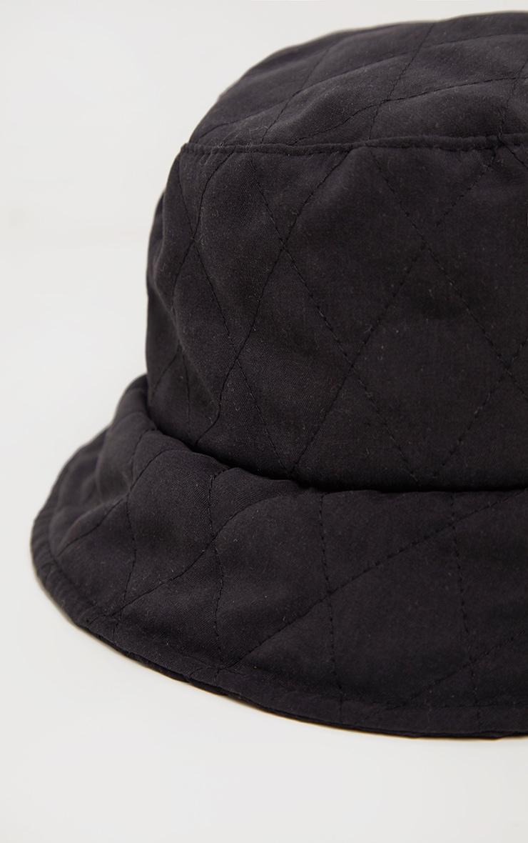 Black Quilted Bucket Hat 3