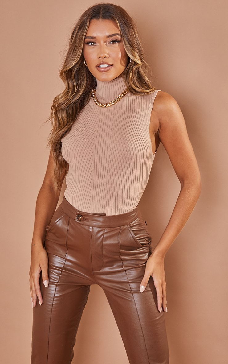 Nude Ribbed Knitted High Neck Bodysuit 1