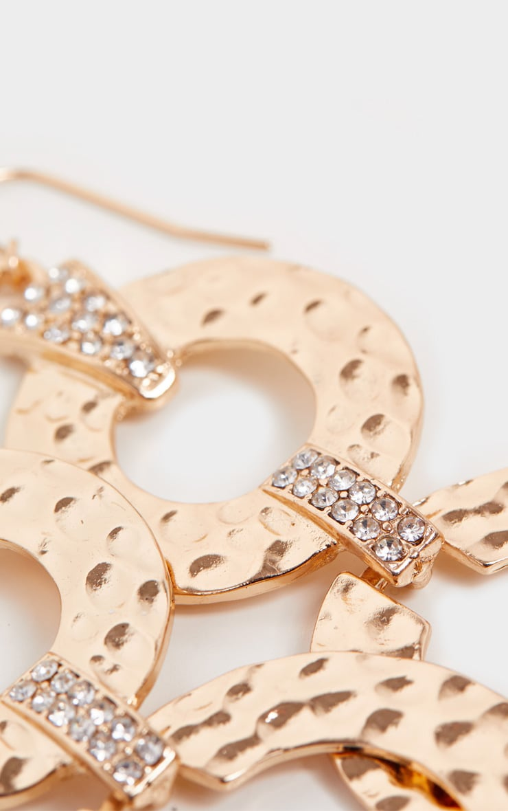 Gold Hammered Double Flat Hoop Drop Earrings 2