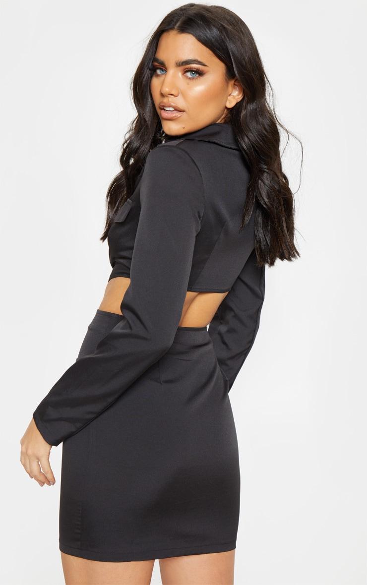 Black Utility Cut Out Bodycon Dress 2