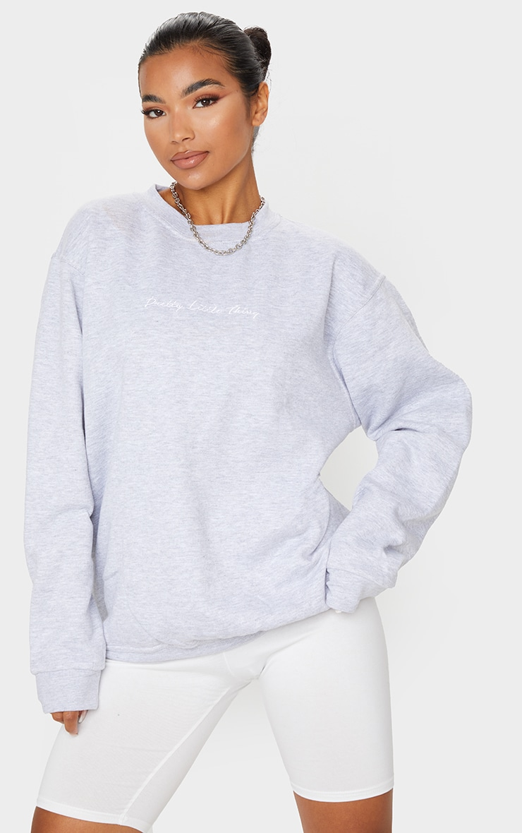 PRETTYLITTLETHING Grey Marl Oversized Sweater 1