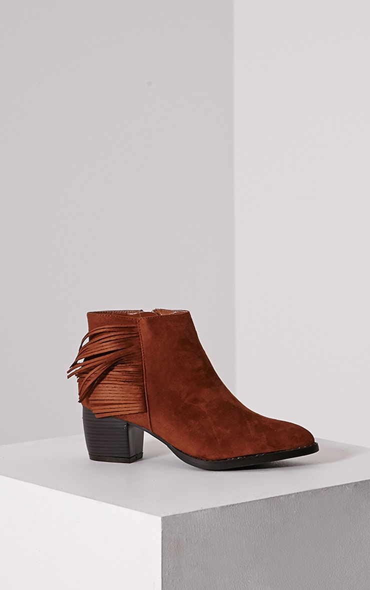 Cairo Tan Faux Suede Tassel Ankle Boots 3