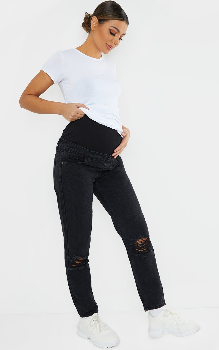 Maternity Black Washed Black Ripped Knee Mom Jeans 1
