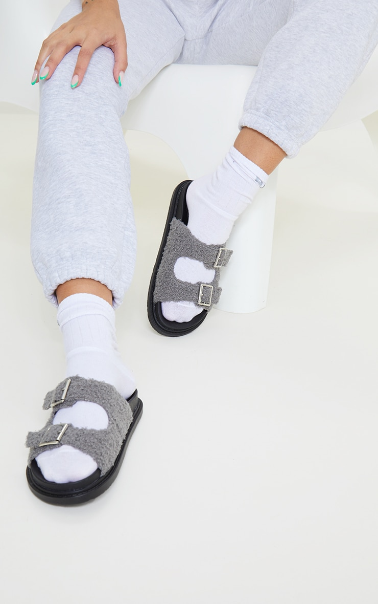 Grey Borg Buckle Footbed Sandals 1