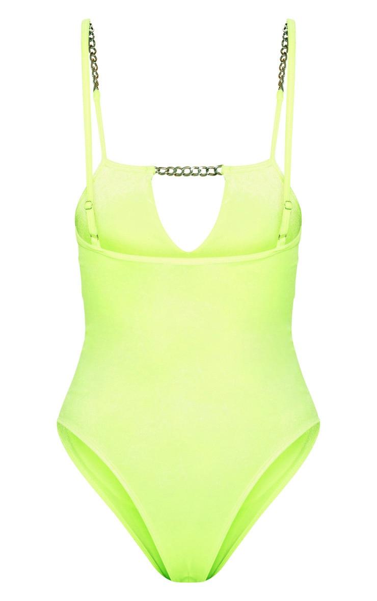 Neon Green Velvet Chain Strap Swimsuit 4