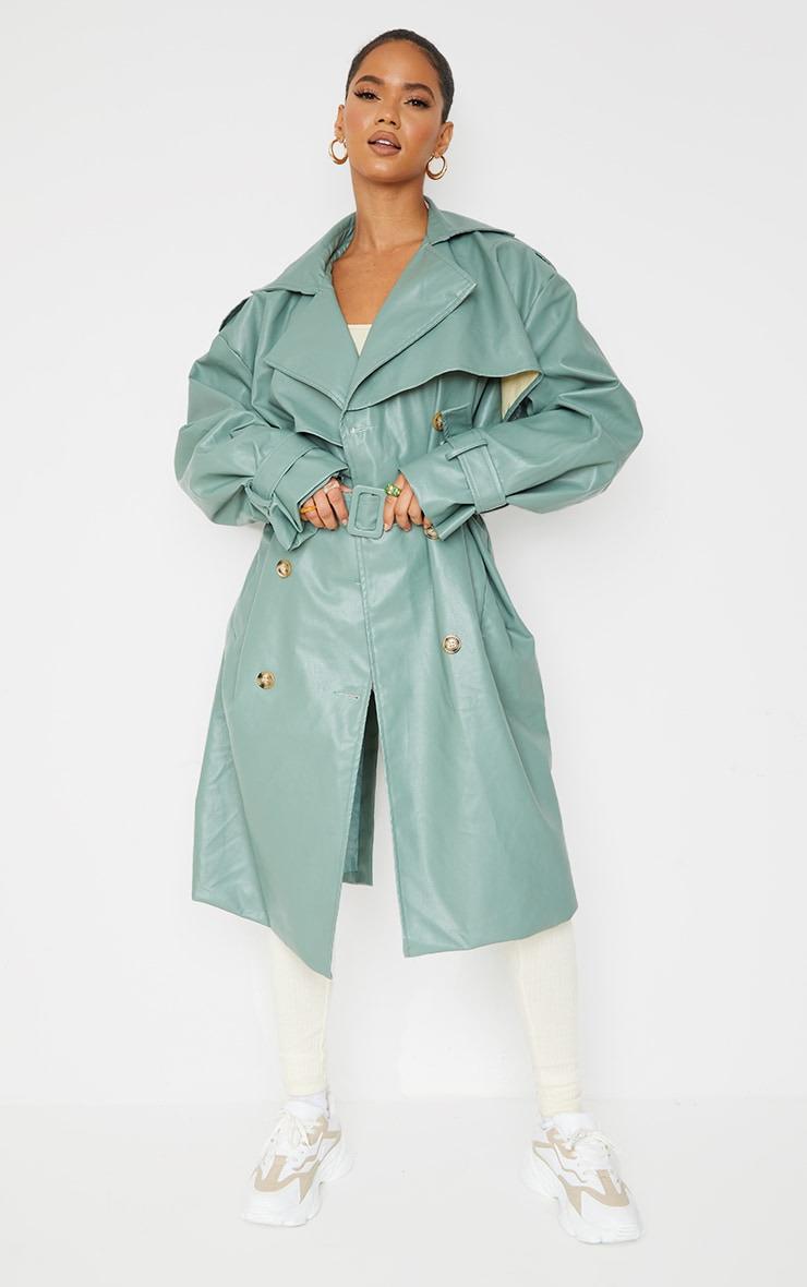 Duck Egg Blue Faux Leather Oversized Belted Midi Trench 3