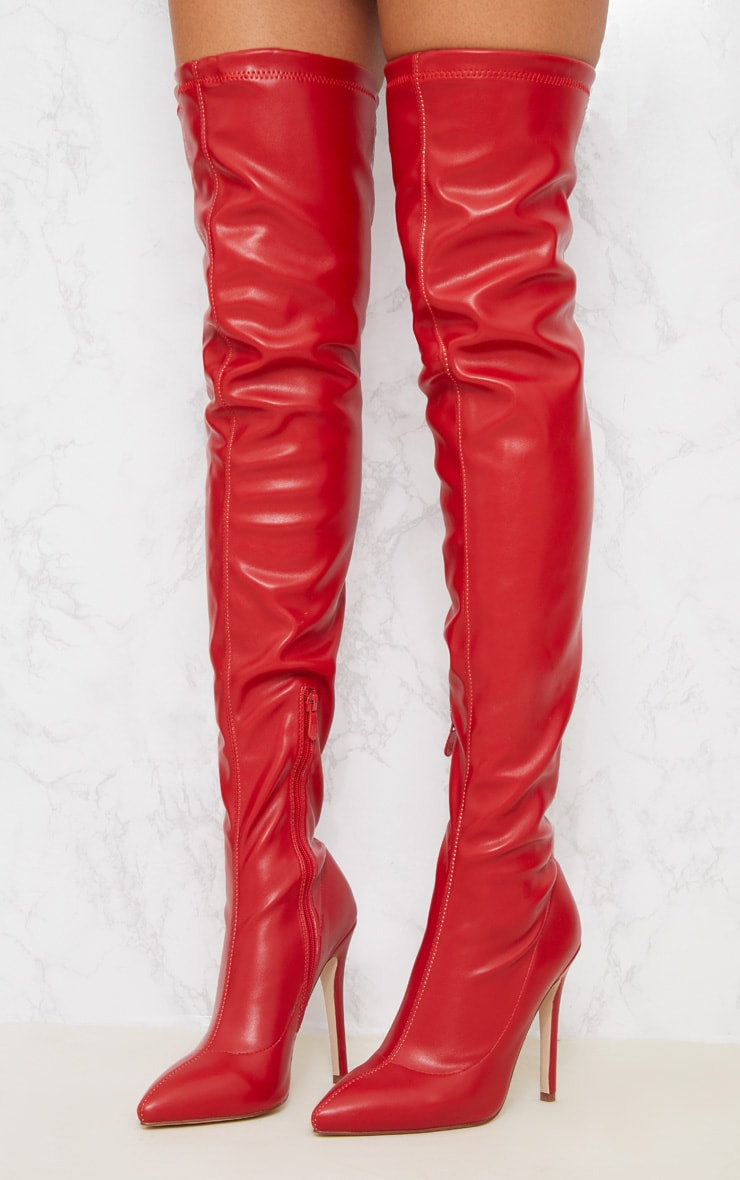 Red PU Pointed Thigh High Boot 2