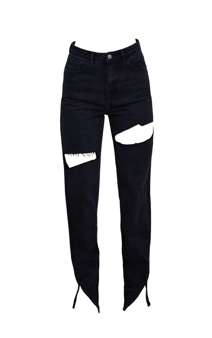 Black Thigh Rip Ripped Split Hem Jeans 5