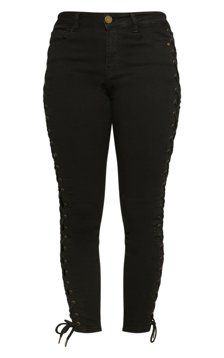 Black Lace Up Side Skinny Jean 3