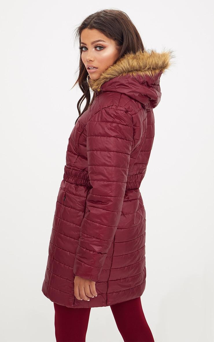 Wine Longline Belted Faux Fur Hooded Puffer Jacket 2