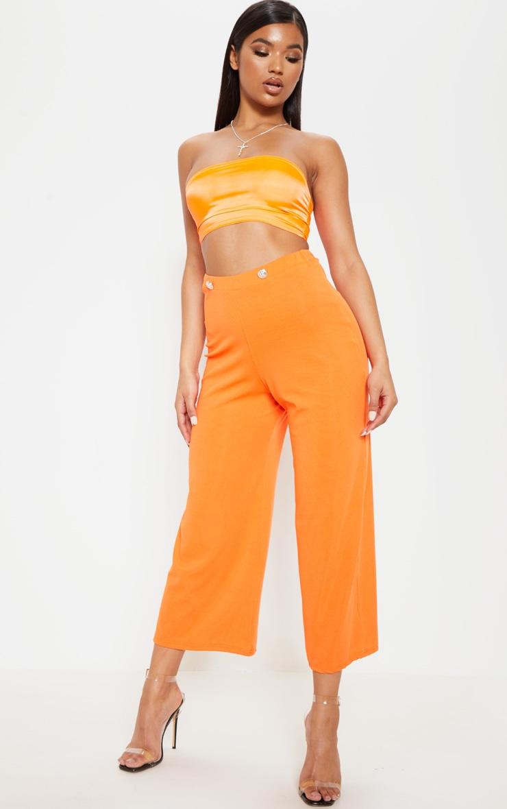 Hot Orange Button Detail Rib Culotte 1