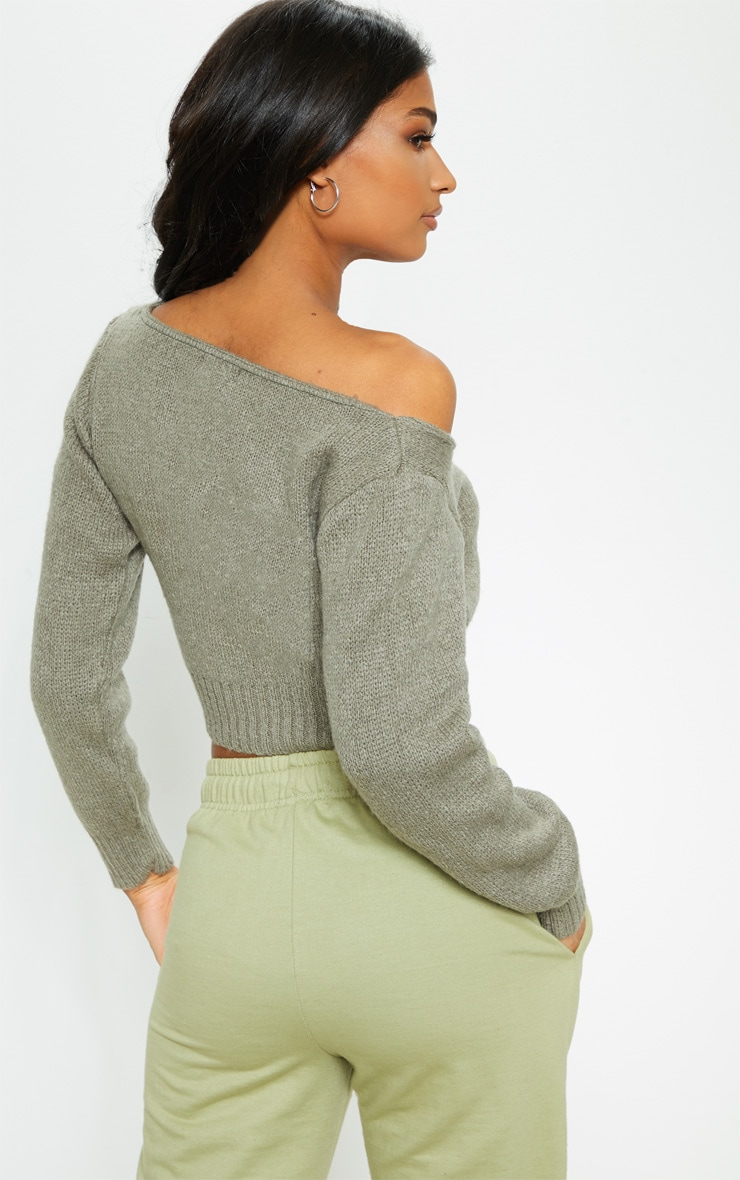 Khaki Off The Shoulder Crop Knitted Jumper 2
