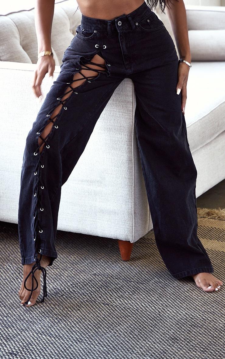 PRETTYLITTLETHING Shape Black Lace Up Side Wide Leg Jeans 4