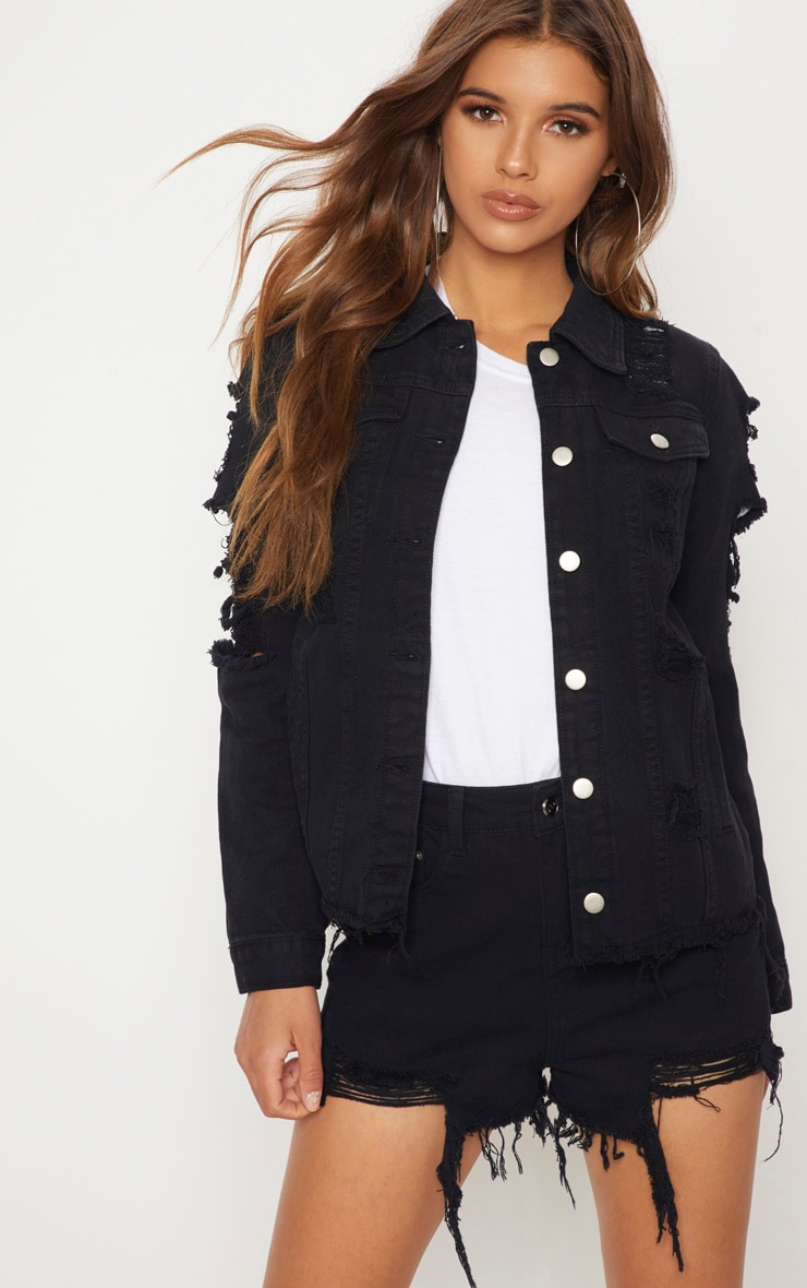 Abegaila Black Distress Oversized Denim Jacket 1