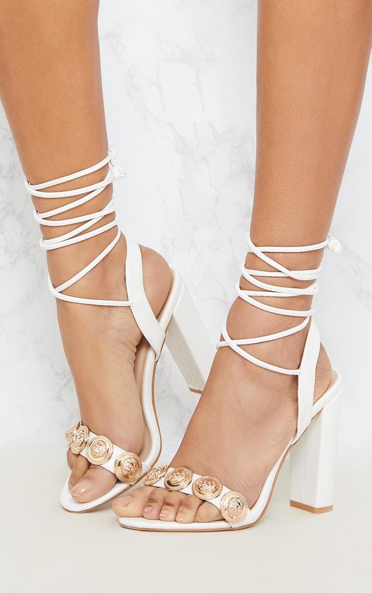 White Coin Studded Leg Tie Block Heel Sandal 2