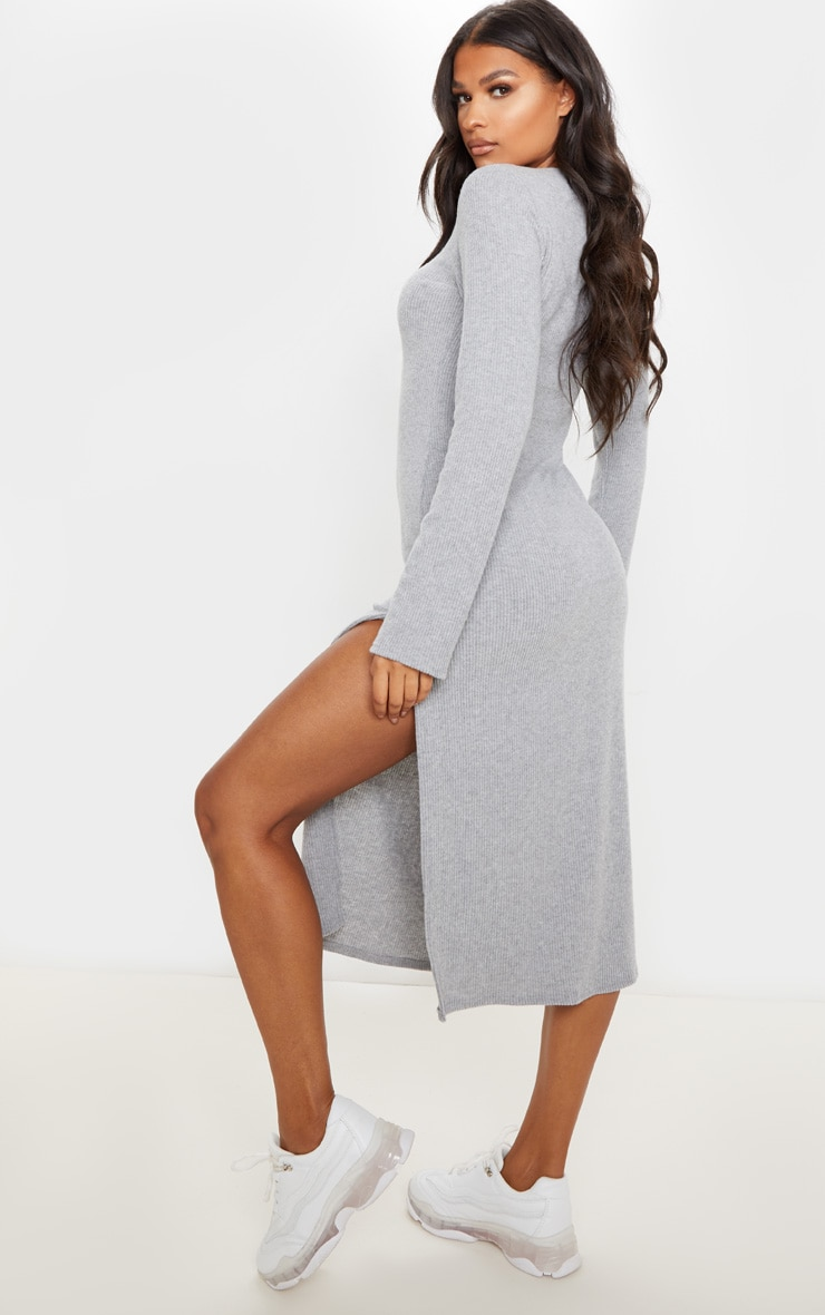 Grey Brushed Rib Long Sleeve Split Hem Midi Dress 2