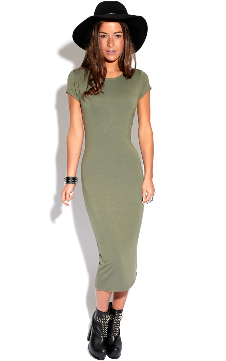 Sadie Khaki Midi Dress 5