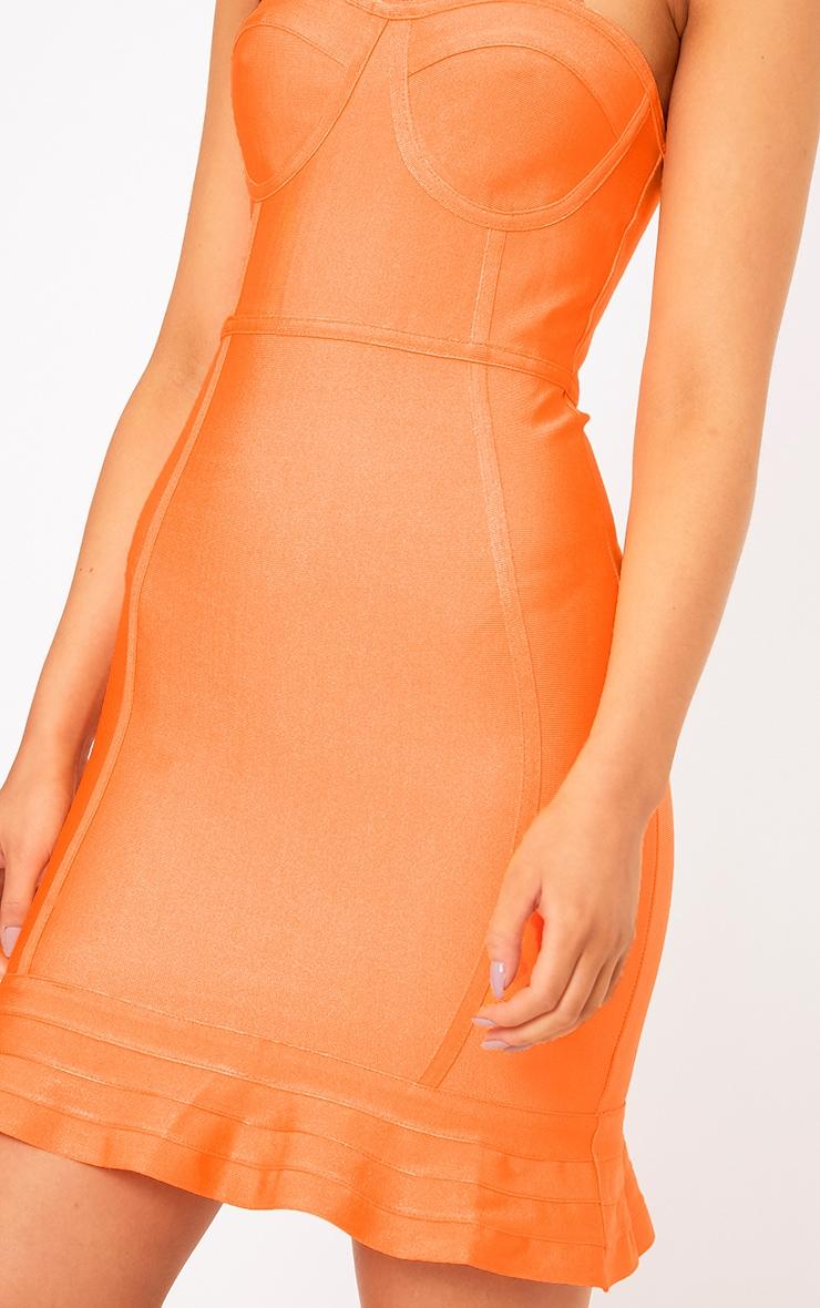 Presli Neon Orange Bandage Frill Hem Bodycon  Dress  5