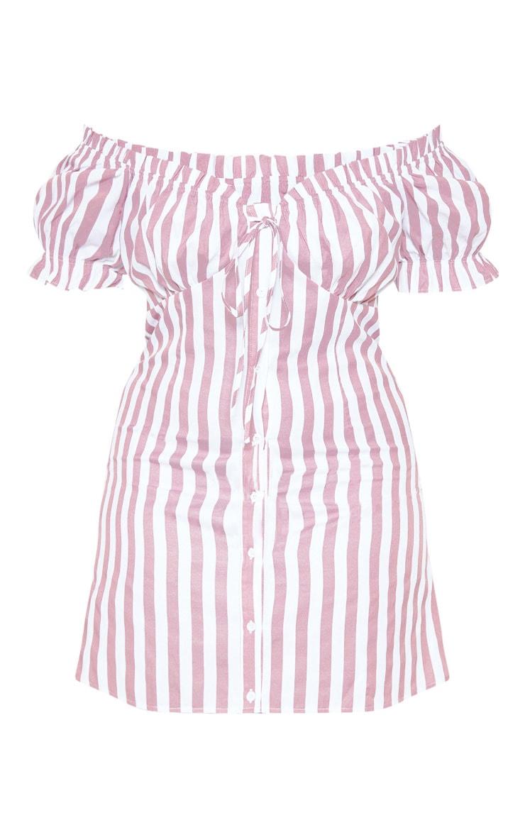 Plus Pink Striped Bardot Button Front Shift Dress 3