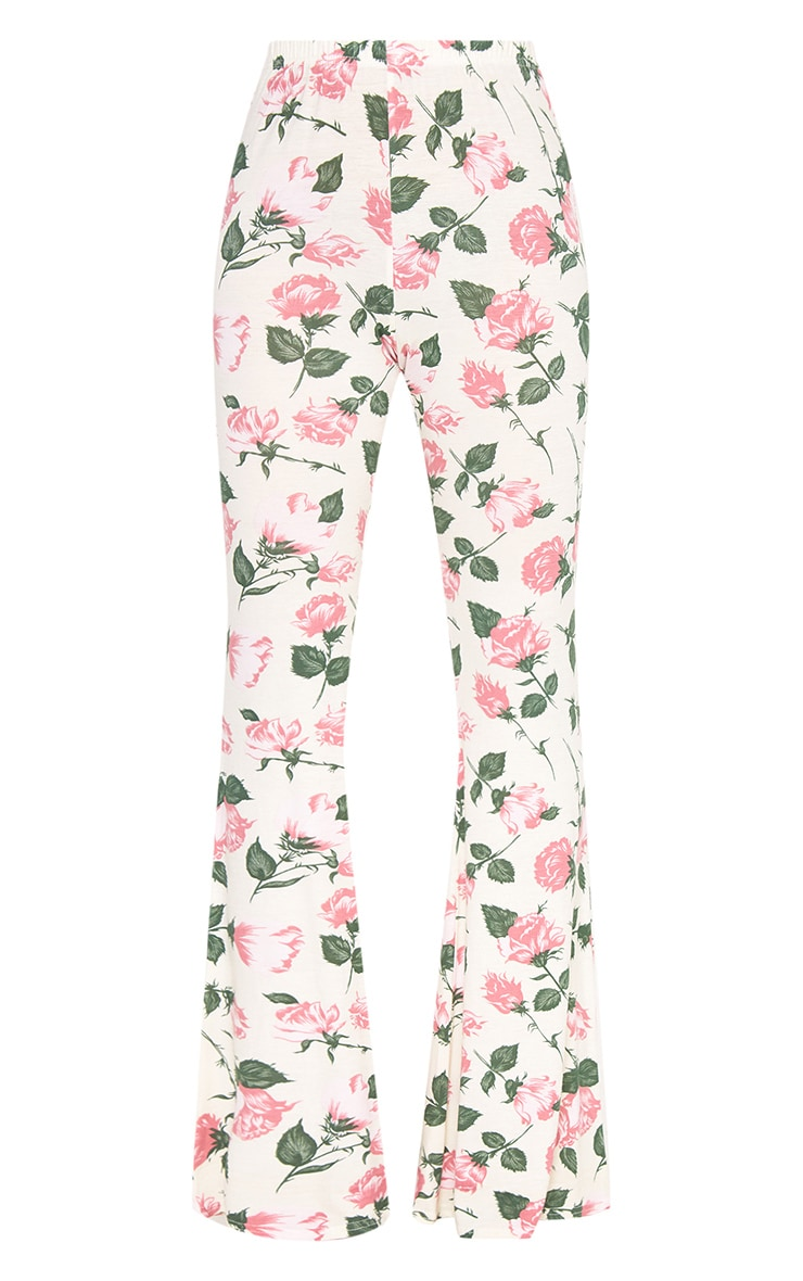 Stone Floral Print Jersey Flared Trousers 3
