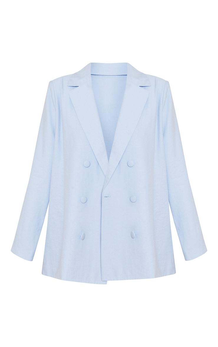 Baby Blue Woven Triple Breasted Oversized Blazer 5