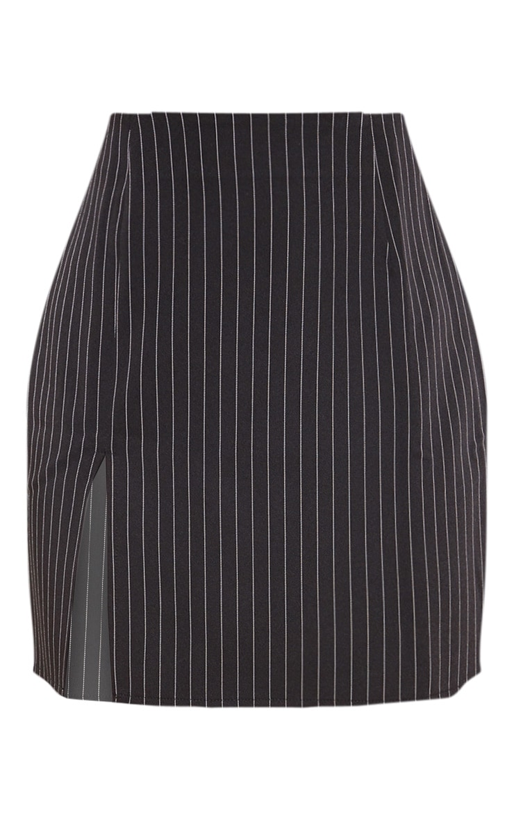 Black Pinstripe Split Detail Mini Skirt 3