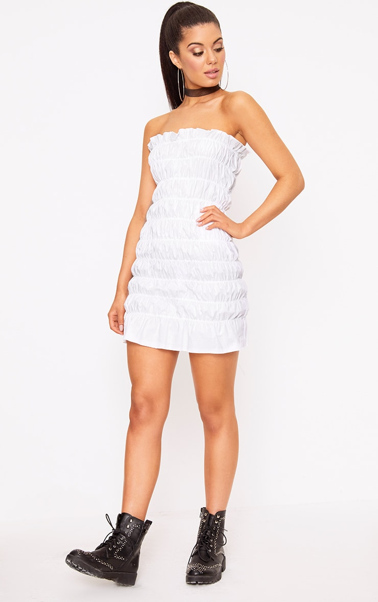White Cotton Ruched Bodycon Dress 3