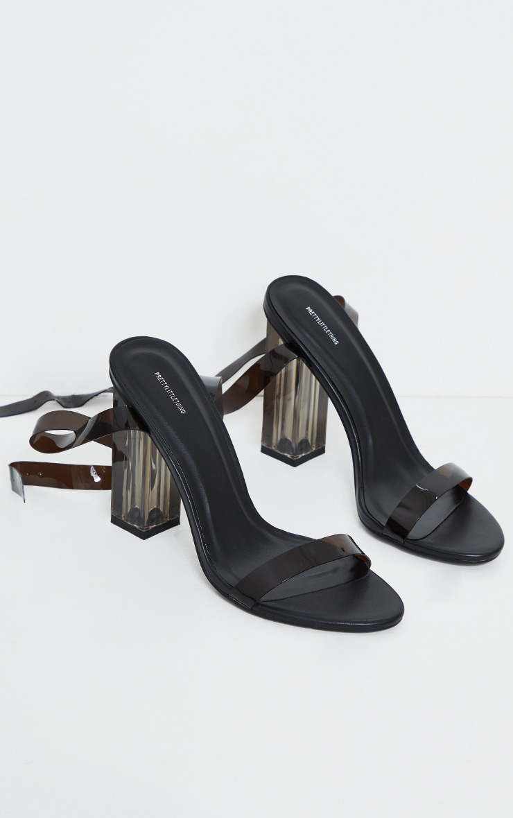 Black Clear Smoked PU Block High Heels 4