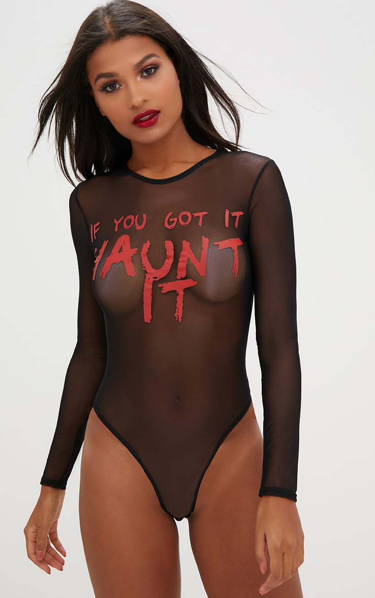 Haunt It Slogan Black Mesh Longsleeve Thong Bodysuit 1