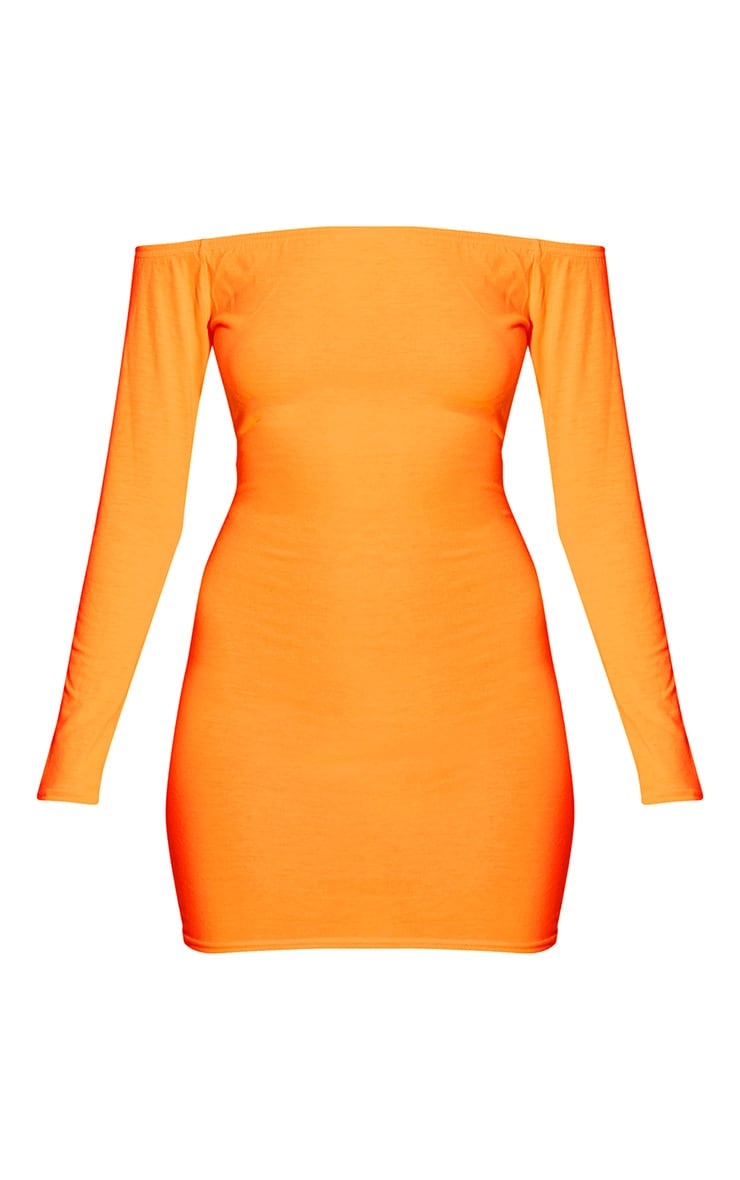 Neon Orange Bardot Bodycon Dress 3