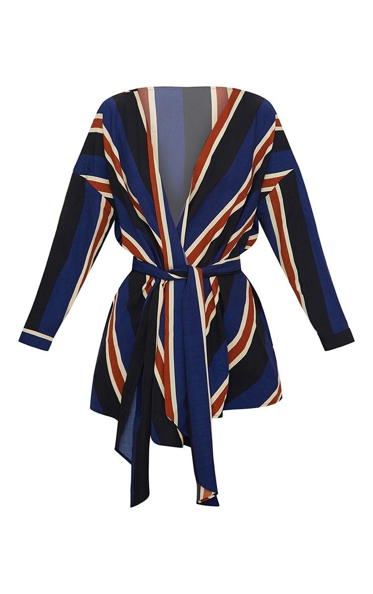 Blue Bold Stripe Tie Waist Blouse 3