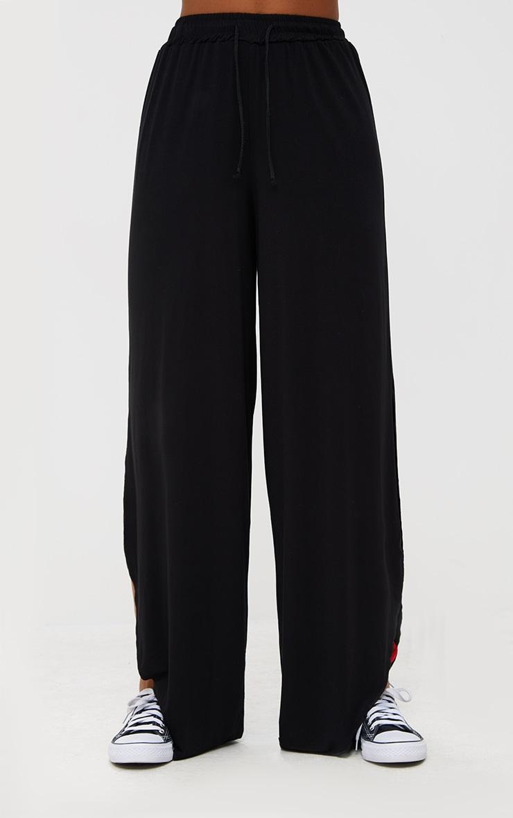 Black Jersey Side Split Wide Leg Joggers 2