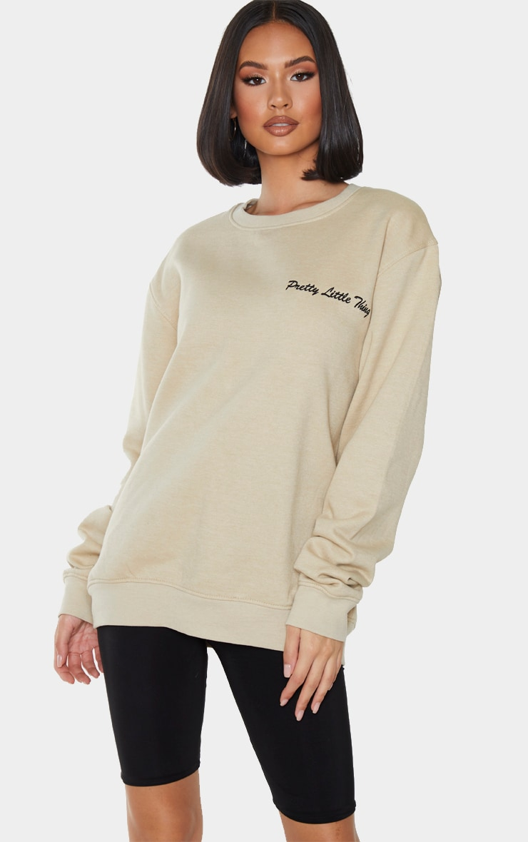 PRETTYLITTLETHING Sand Embroided Sweatshirt 1