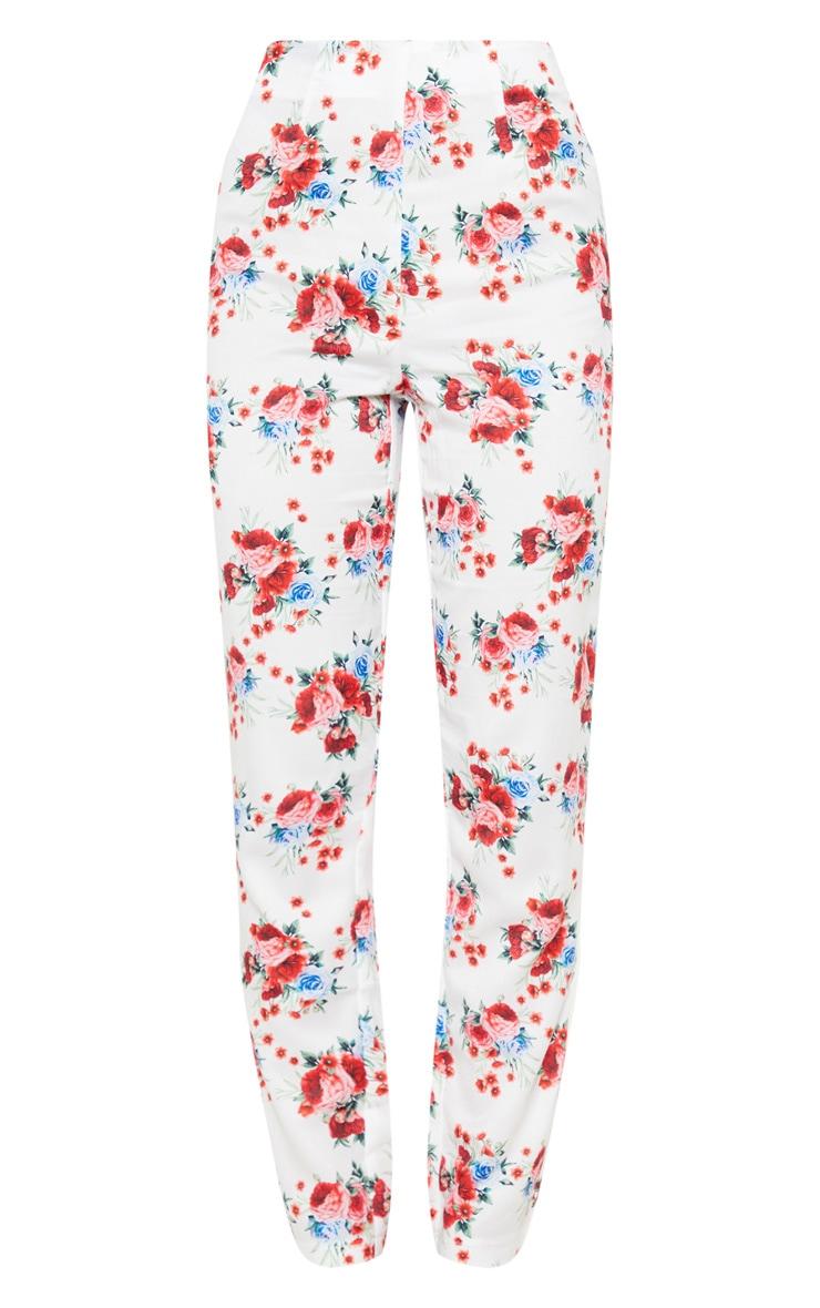 White Rose Print Woven High Waisted Straight Leg Trouser 3