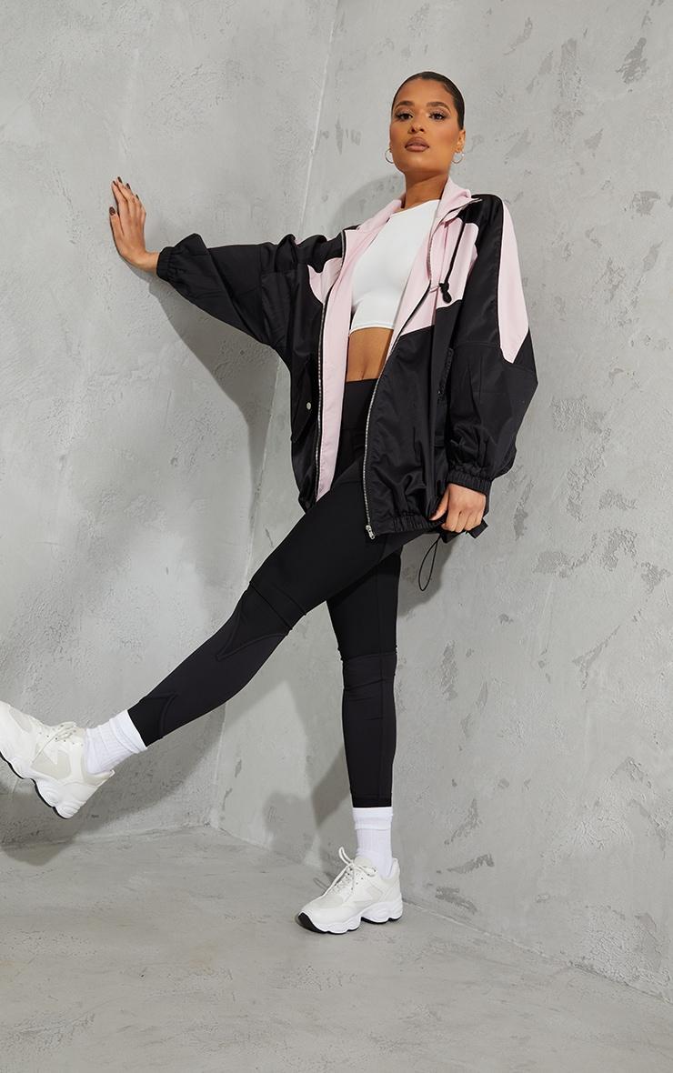 Pink Colour Block Panel Drop Arm Zip Through Jacket 1