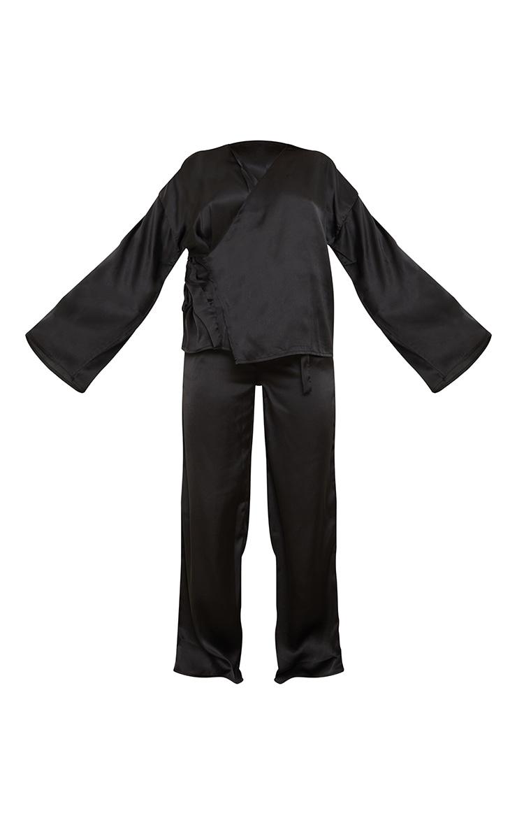 Black Kimono Side Tie Satin Long Pj Set 5