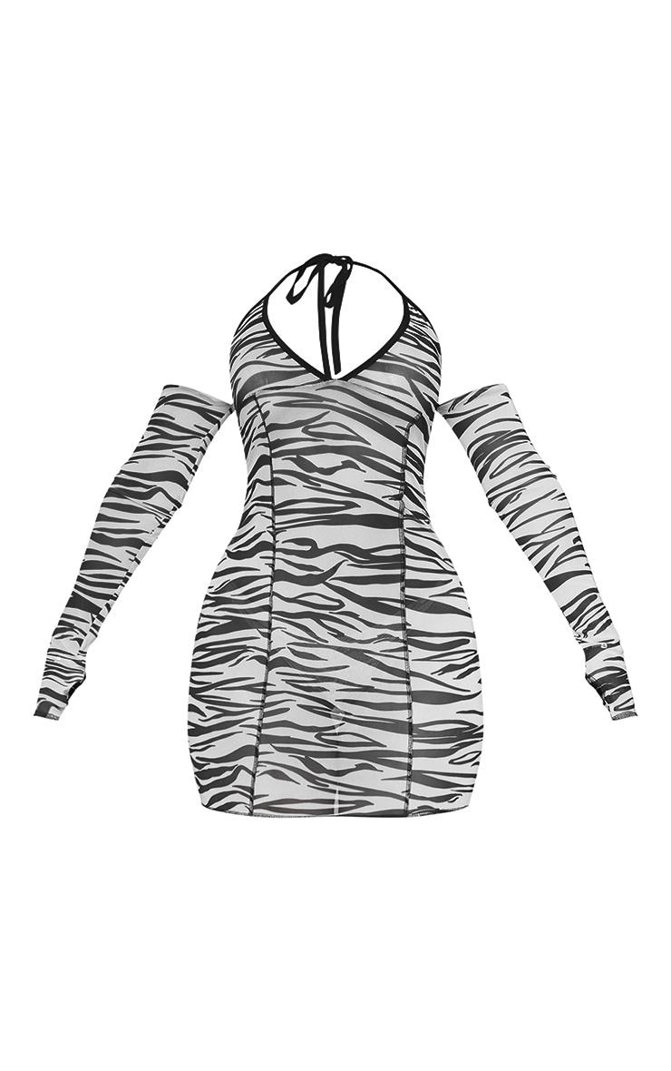 Shape White Zebra Print Mesh Halterneck Bardot Bodycon Dress 5
