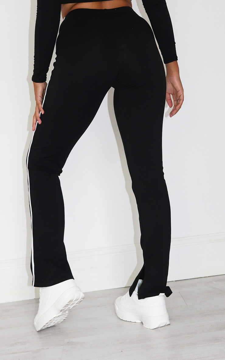 Petite Black Stipe Detail Split Hem Trousers 3