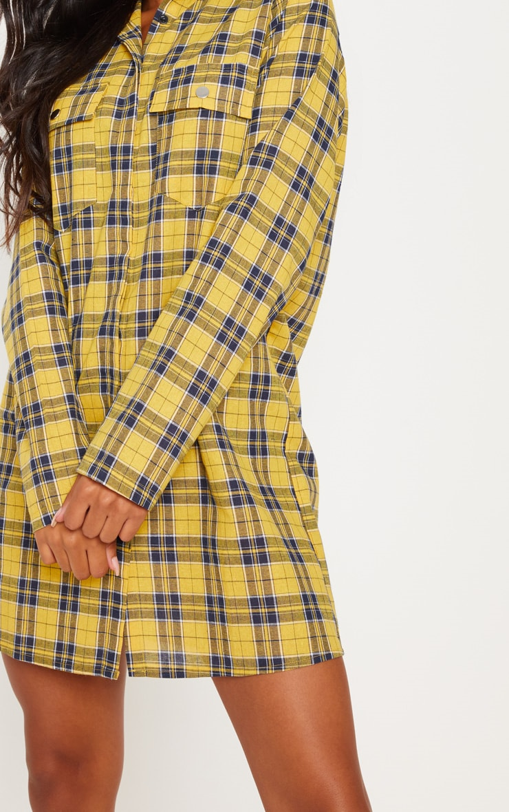 Mustard Oversized Check Shirt Dress 5