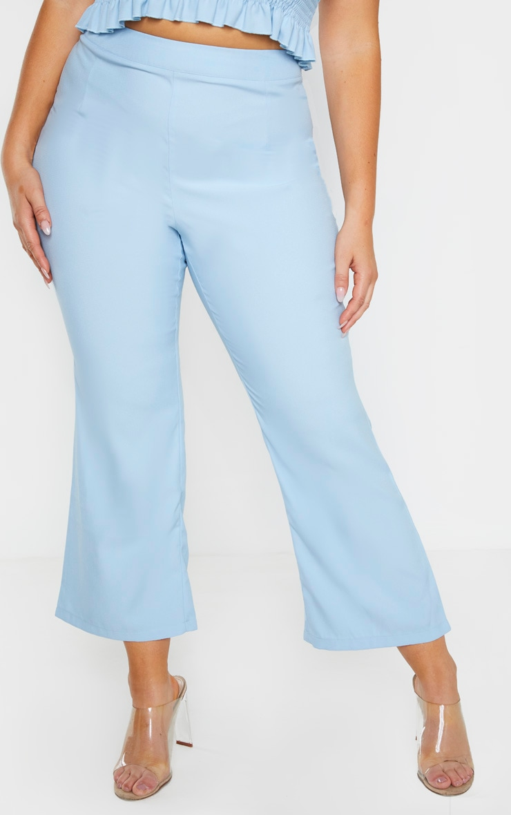 Plus Dusty Blue Crop Straight Leg Trouser 2