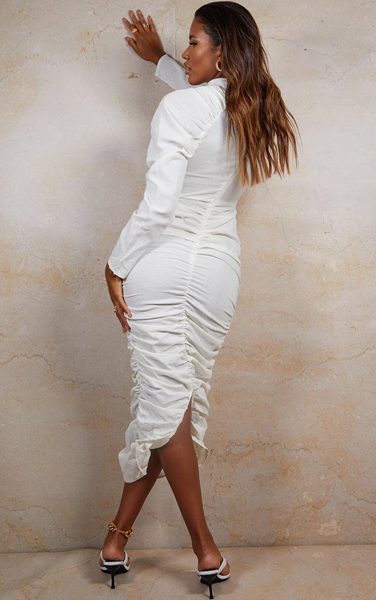 White Woven Ruched Tortoise Shell Belt Detail Long Sleeve Midi Dress 2